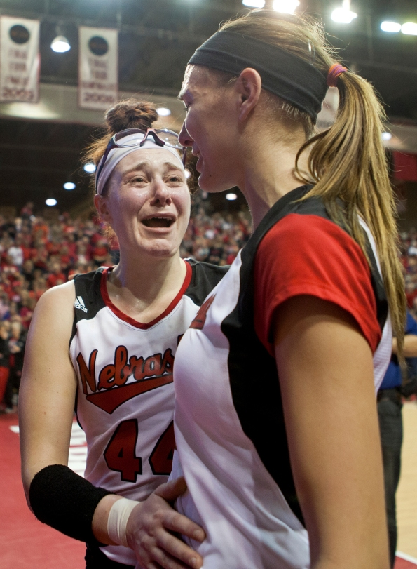 Hannah Werth and Morgan Broekhuis walk off the court after their win over Northern Iowa in the first round of the NCAA tournament on Friday, Nov. 30, 3012 at the NU Coliseum in Lincoln, Neb.