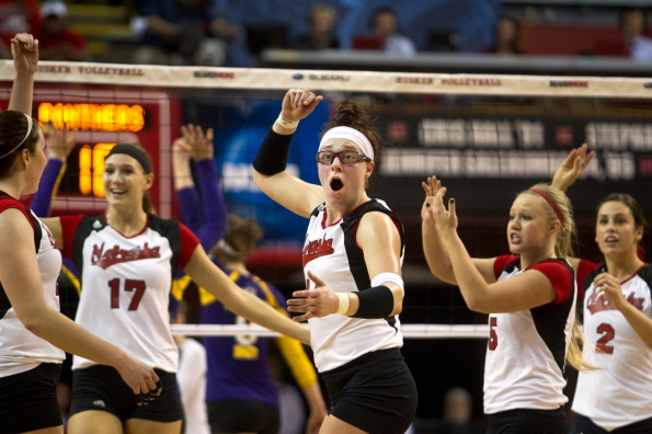 Hannah Werth, center, reacts to a call in the first round of the NCAA volleyball tournament on Friday, Nov. 30, 2012 at the NU Coliseum in Lincoln, Neb.